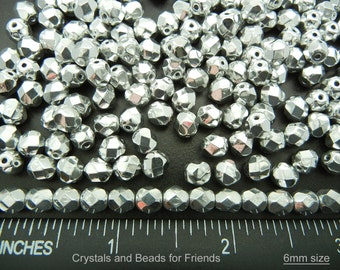 300 Crystal Labrador CAL2X Silver fully coated 6mm, Preciosa Czech Fire Polished Round Faceted Glass Beads, Czech Glass Fire Polish Beads