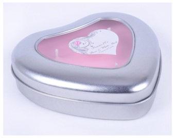 Highly scented heart tin candle