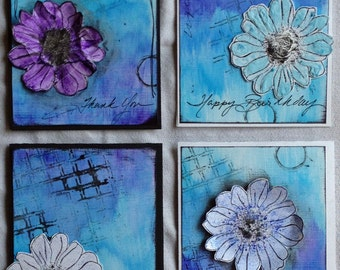 Mixed Media Floral Card Set CLEARANCE