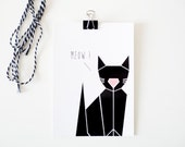 Geometric / Christmas Cat Card / Origami lovers / Postal Card / Black and white 10x15