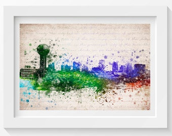Knoxville Tennessee Skyline In Color Poster Home Decor Gift Idea