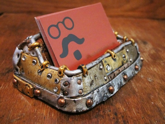 Unique steampunk business card holder for Steampunk business card holder