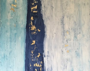 Across The Bay - Large Abstract Landscape Painting With Gold Foil - 24x36x1.5