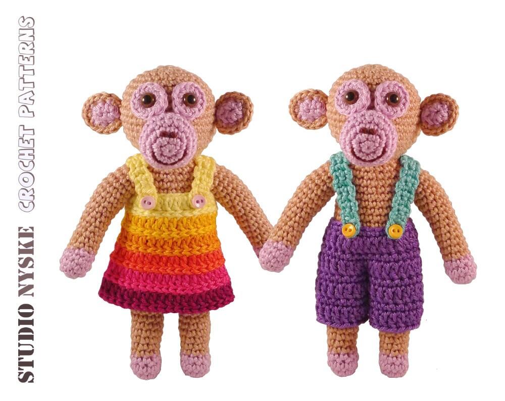 Free Amigurumi Patterns Frog : Amigurumi doll PATTERN little monkeys BOY&GIRL by StudioNyske