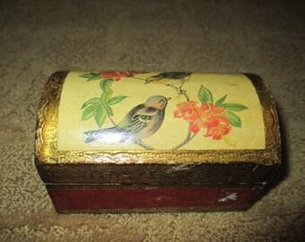 Trinket box/Vintage Florentia hand made bird jewelry/trinket box.