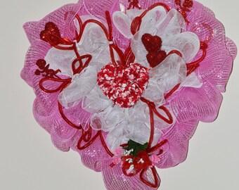 Valentine Day Wreath, Heart Wreath, Deco Mesh Wreath, Door Decoration, Ready to Ship!