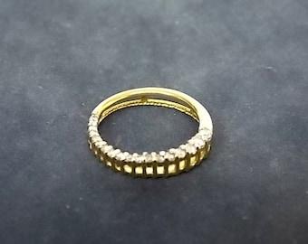 Women's Vintage Estate 14K Yellow Gold Circle Pendant w/ 20 Diamonds,1.92g E1722