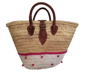 Straw bag , French market bag, woven straw bag , Farmers market bag, Capazo , Summer beach tote