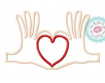 Hands Holding Heart Machine Embroidery Applique Design