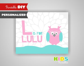 Personalized printable nursery art, Baby Name Print, Owl nursery ( 008PR )