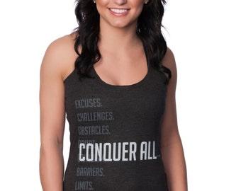 Women's Motivational Tank Top Cheeky Racerback-Conquer