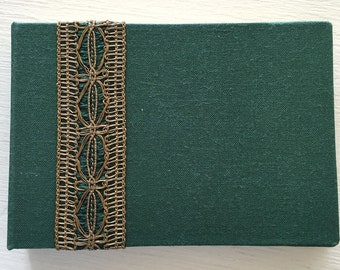 Mini Handbound Green Journal with Decorative Ribbon
