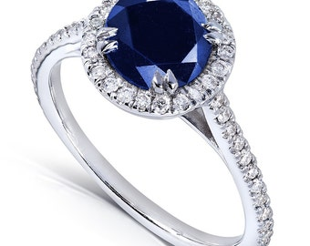 Round Blue Sapphire Diamond Halo Engagement Ring 1 1/2ct (ctw) in 14k White Gold