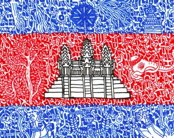 "Stickers of World Flags ""Cambodia"""