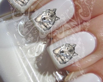Wolf  Nail Art Nail Water Decals Transfers Wraps