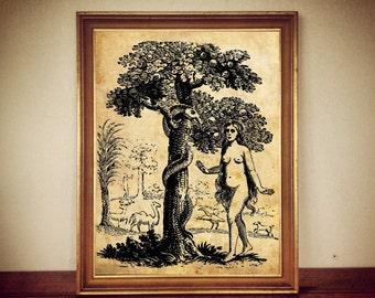 EVE and SNAKE EDEN magick occult antique print illustration poster vintage home decor cabin
