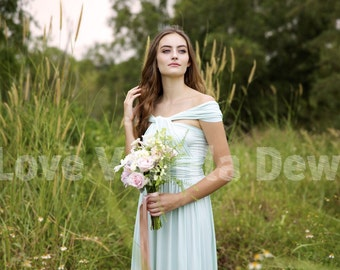 Bridesmaid Dress Infinity Dress Mint Knee Length Wrap Convertible Dress Wedding Dress