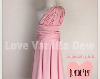 Junior Bridesmaid Dress Infinity Dress  Peach Pink Convertible Dress Multiway Wrap Dress