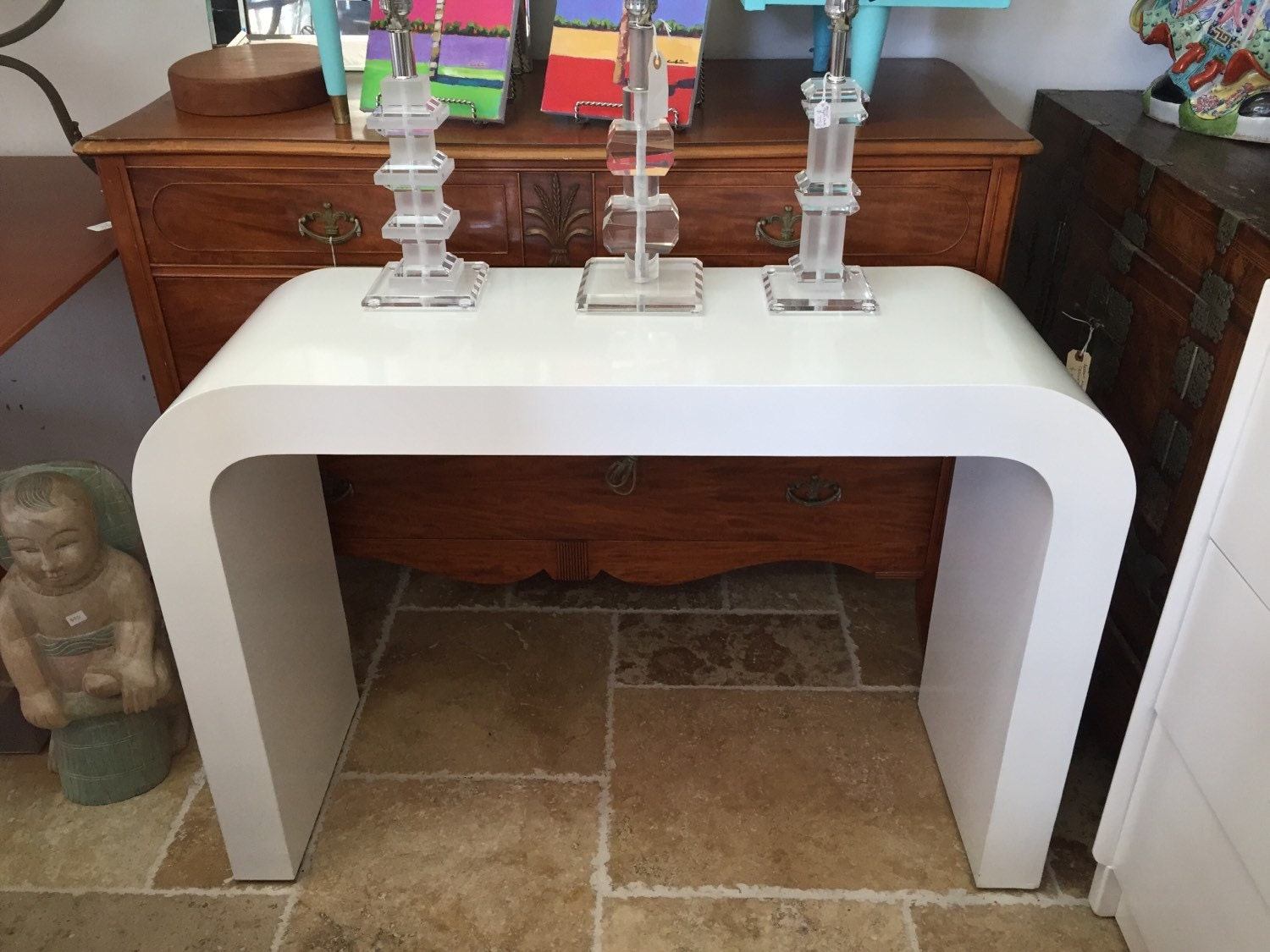White Waterfall Tables ~ Vintage mid century modern water fall console table white