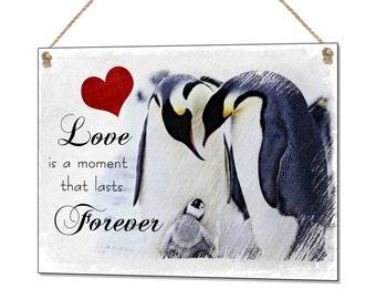 Love Forever Penguin Retro Funny Vintage Metal Sign Plaque