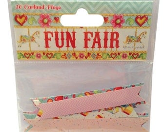SALE - 20 Garland Flags Fun Fair by Helz Cuppleditch - Scrapbook Card Embellishments