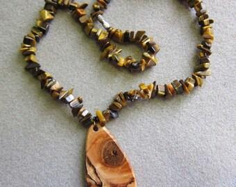 Spalted Maple Pendant Beaded Tiger Eye Necklace Exotic Woods and Tiger Eye Bracelet ExoticWoodJewelryAnd