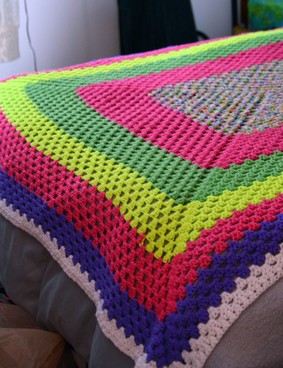 handmade afghan blanket for sale sale retro handmade afghan blanket neon colors squares 6747
