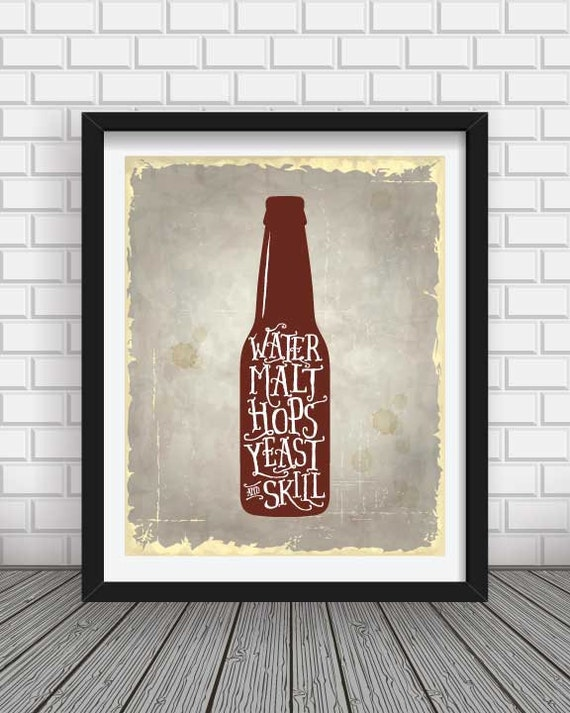 Beer kitchenliving room wall art home decorbeer by for 12x16 living room ideas