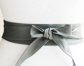 Grey Thin Leather Obi Belt | Waist wrap Belt | Leather Narrow tie belt | Coat Belt | Plus size belt