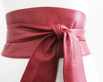 Red Leather tulip tie Obi Belt | Corset Wrap Tie Belt | Corset Obi Belt| Wide waist cincher | Plus Size Belts