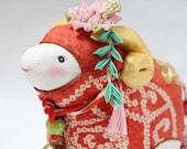 Zodiac sheep doll , kimono doll, Japanese vintage kimono fabric, antique kanzashi, Zodiac animals