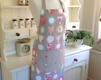 Tea Cups & Dotty Apron, Tea Cups Apron, Ladies' Apron, Adjustable Apron, Full Apron