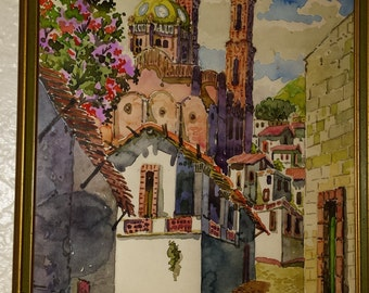 Framed Water Color by Fidel Figueroa in Taxco Mexico