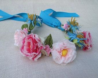 Flower Girl Crepe Paper Flower Headband