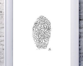 Be Yourself Quote by Oscar Wilde Art Thumbprint