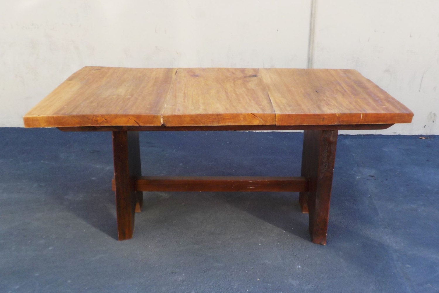 reduced rustic mission wood slab dining table by