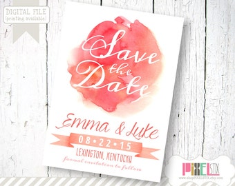 On Trend Watercolor Save the Date - CUSTOMIZABLE AND PRINTABLE - Watercolor Stain Save the Date - Pink, Peach, and Coral