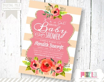 Trendy Baby Shower Invitation for Girl - CUSTOMIZABLE PRINTABLE INVITATION - Floral Striped Shower Invitation - Pink and Peach with Glitter