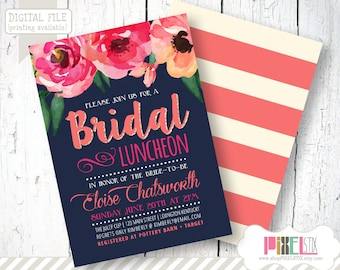 Fresh and Modern Watercolor Floral Bridal Luncheon Invitation - CUSTOMIZABLE PRINTABLE INVITATION - Watercolor Style in Navy and Coral