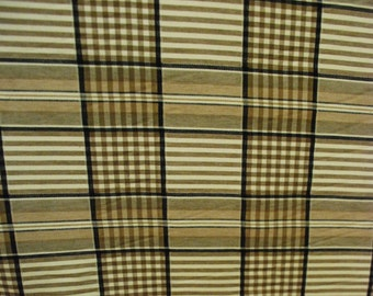 Brown, Black, and Cream Plaid Upholstery and Home Decor Fabric