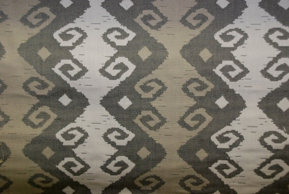Grey Tribal Ikat Diamond Geo Upholstery Fabric Home Decor
