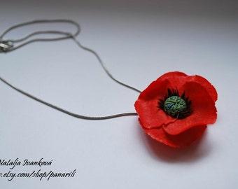 Red Poppy Pendant Red flower necklace polymer clay poppy panarili Birthday gift for her Elegant romantic jewelry Fancy gift flower pendant