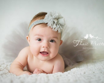 Silver Tutu Set, Baby Tutu and Headband Set, Birthday Outfit, Cake Smash, Flower Girl, Newborn Photo Prop, Ballerina Tutu