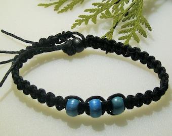 Black Hemp, Sky Blue Beaded, Hemp Anklet/Bracelet - Unisex Hemp Jewelry, Color Choices Available