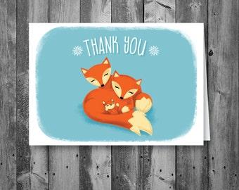 Fox Thank You Card, Fox Theme Thank You Card, Fox Thank You, Digital, Printable, Download