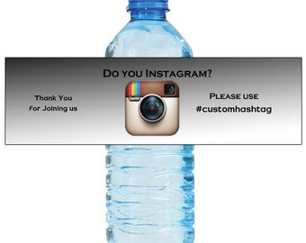Do You Instagram Hashtag Water Bottle Labels Great for Weddings Parties Events Engagement Bridal Shower Party Self stick, easy to use