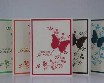 5 Butterfly Thank You Cards.  Thank you Greeting Card Set.  Blank Thank You Cards.  Embossed Butterfly Card Set.  Butterfly Note Cards