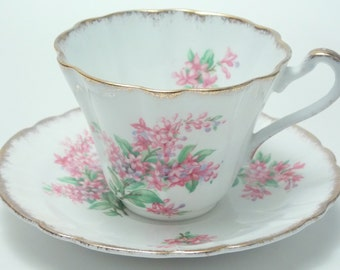 Gladstone Pink Flowers Gold Brushed Trim Tea Cup and Saucer Vintage Fine Bone China Made in England