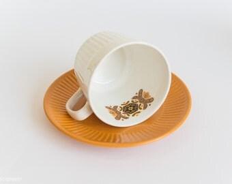 Tea Cup + Saucer x 3 - Made in Australia - Orange White Retro