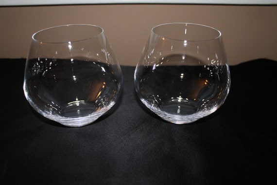 Stunning Crystal Rolly Polly Wine Glasses Mid Century Modern